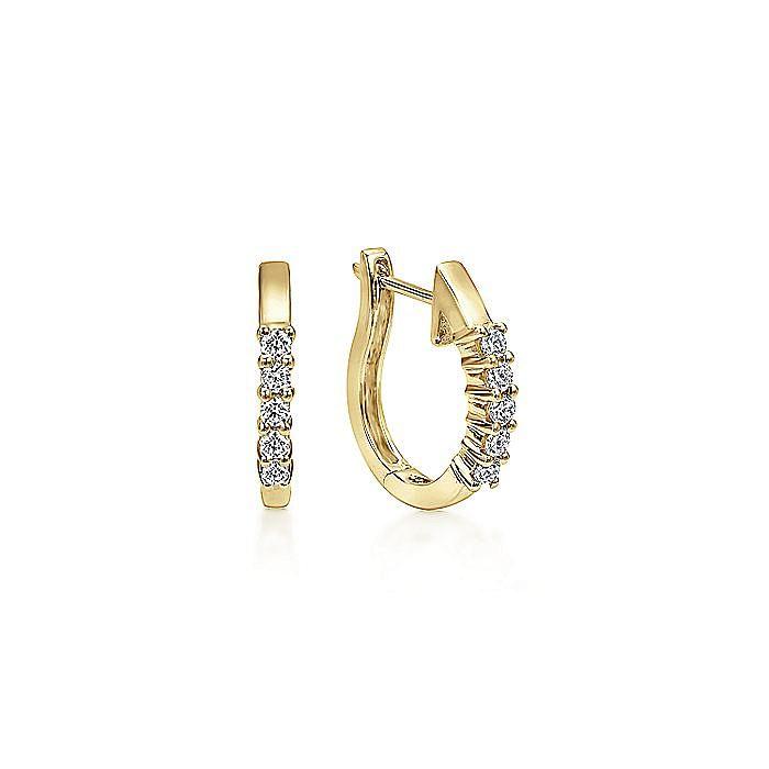 14K Yellow Gold 15mm Prong Set Diamond Huggie Earrings