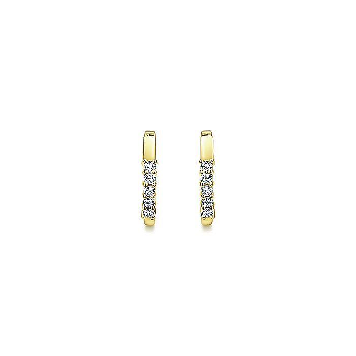 14K Yellow Gold 15mm Prong Set Diamond Huggies