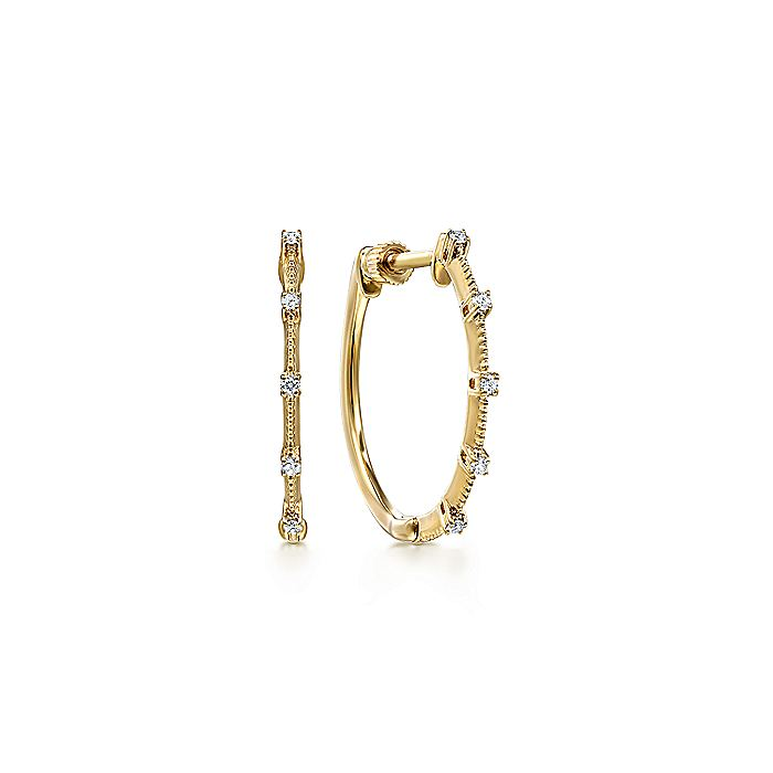 14K Yellow Gold 20mm Classic Diamond Station Hoop Earrings