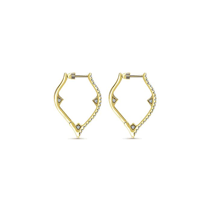 14K Yellow Gold 20mm Geometric Diamond Huggie Earrings