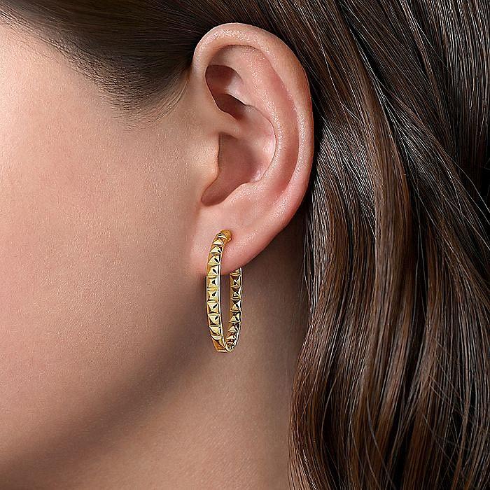 14K Yellow Gold 30mm Geo Cube Hoop Earrings