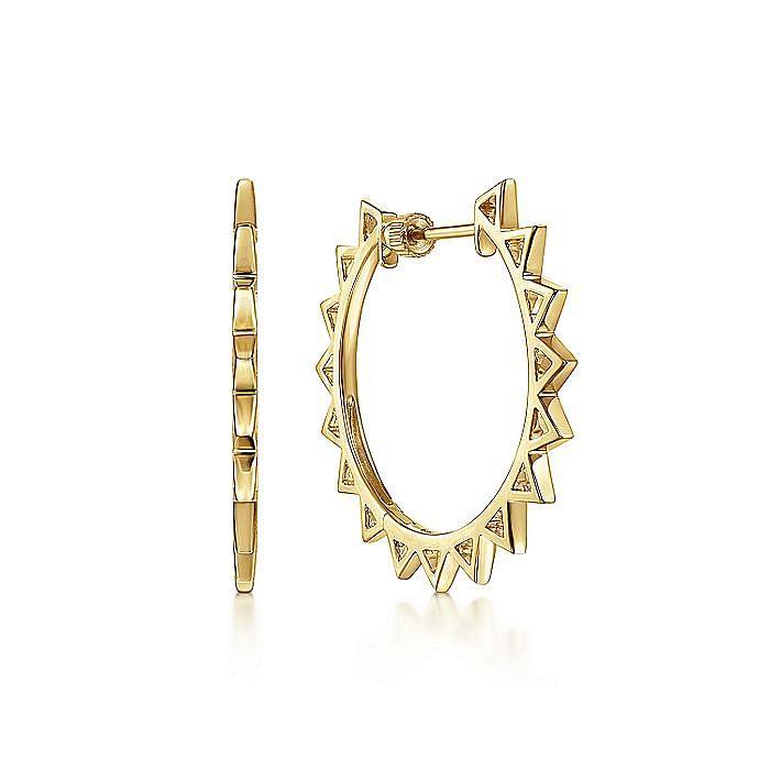 14K Yellow Gold 30mm Spikey Hoop Earrings