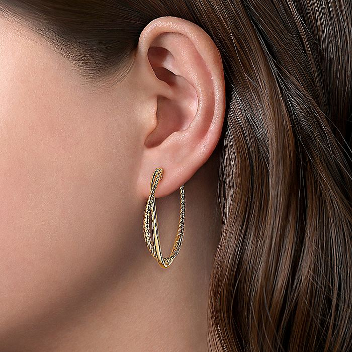 14K Yellow Gold 35mm Plain and Twisted Rope Hoop Earrings