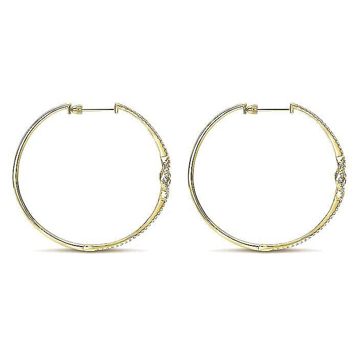 14K Yellow Gold 45mm Diamond Clover Hoop Earrings
