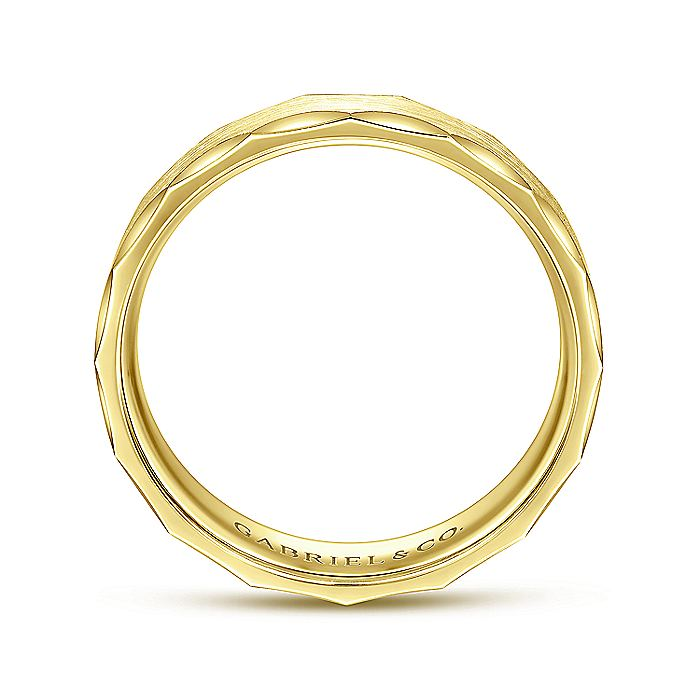 14K Yellow Gold 6mm -  Satin Grooved Edge Men's Wedding Band
