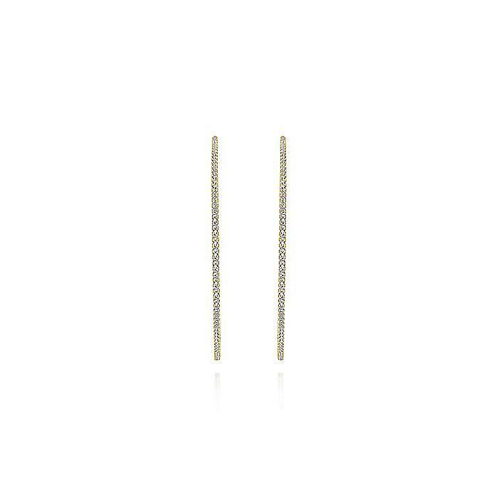 14K Yellow Gold 70mm Diamond Hoop Earrings