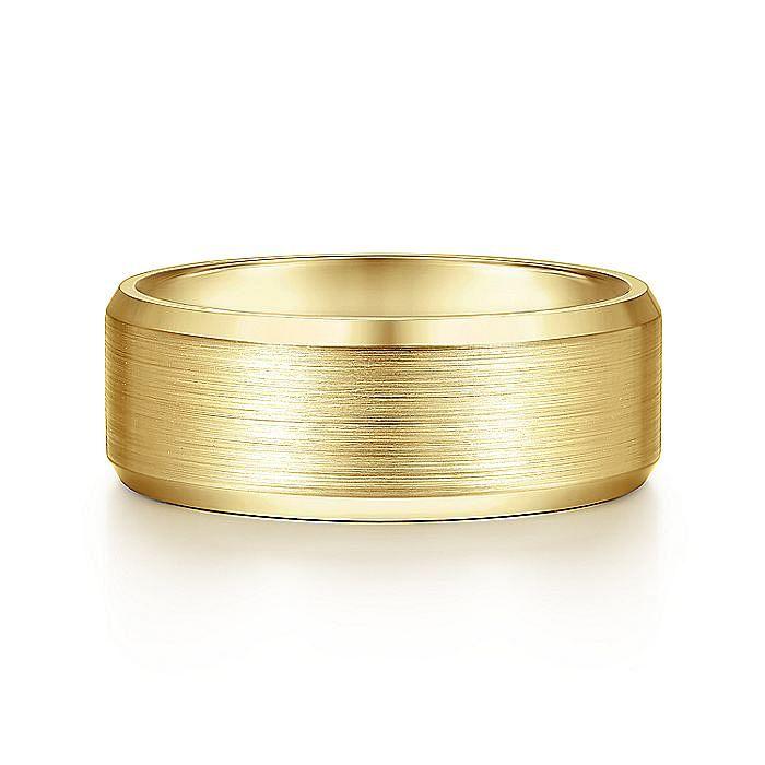 14K Yellow Gold 8mm - Satin Center and Beveled Edge Men's Wedding Band