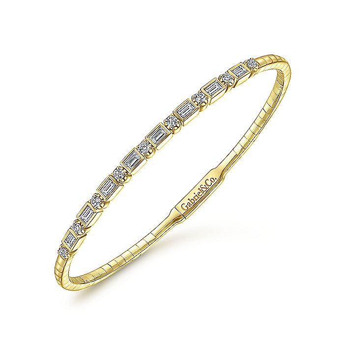 14K Yellow Gold Alternating Baguette and Round Diamond Bangle