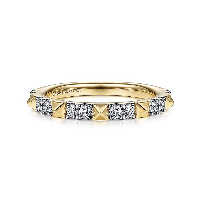 14K Yellow Gold Alternating Diamond and Pyramid Stackable Ring