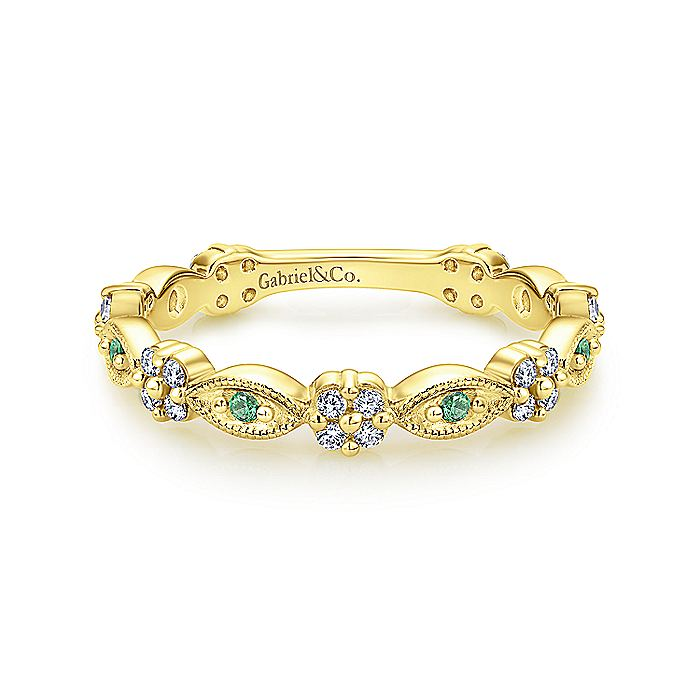 14K Yellow Gold Alternating Emerald and Diamond Station Stackable Ring