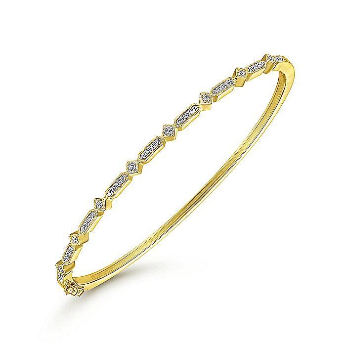 14K Yellow Gold Alternating Geometric Stations Diamond Bangle