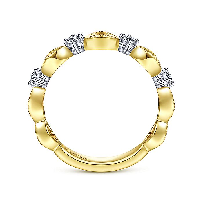 14K Yellow Gold Alternating Open Link and Diamond Stackable Ring