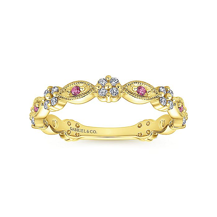 14K Yellow Gold Alternating Ruby and Diamond Station Stackable Ring