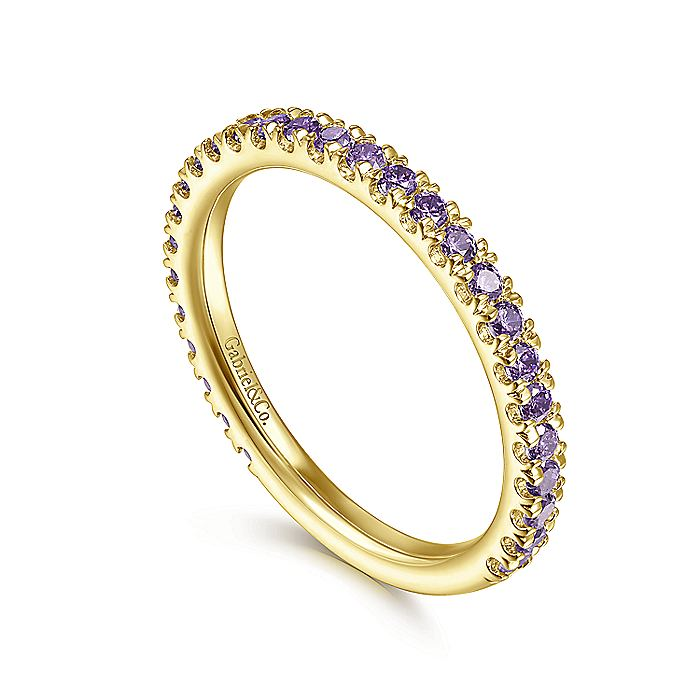 14K Yellow Gold Amethyst Stackable Ring