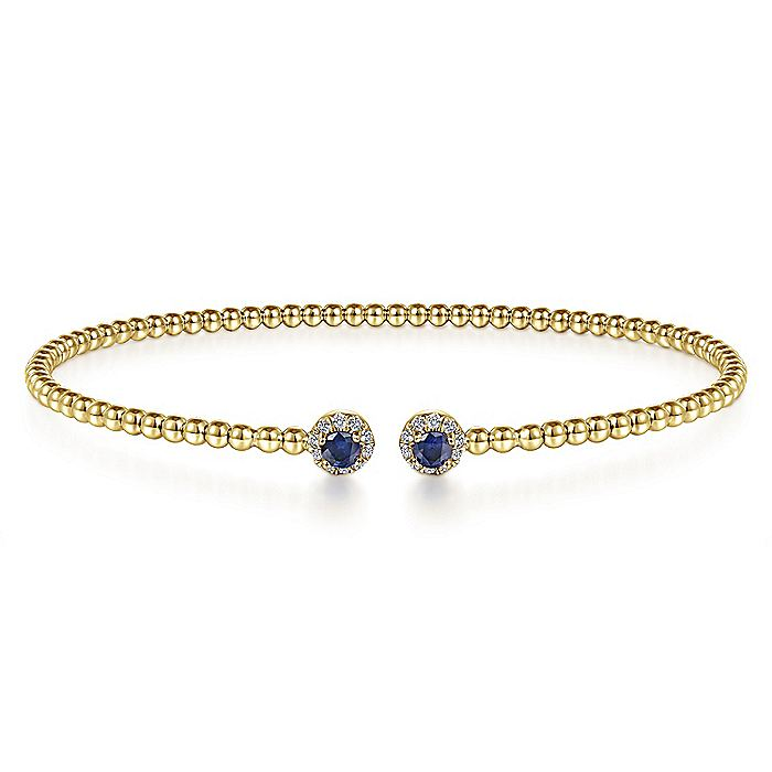 14K Yellow Gold Bangle with Deep Blue Sapphires
