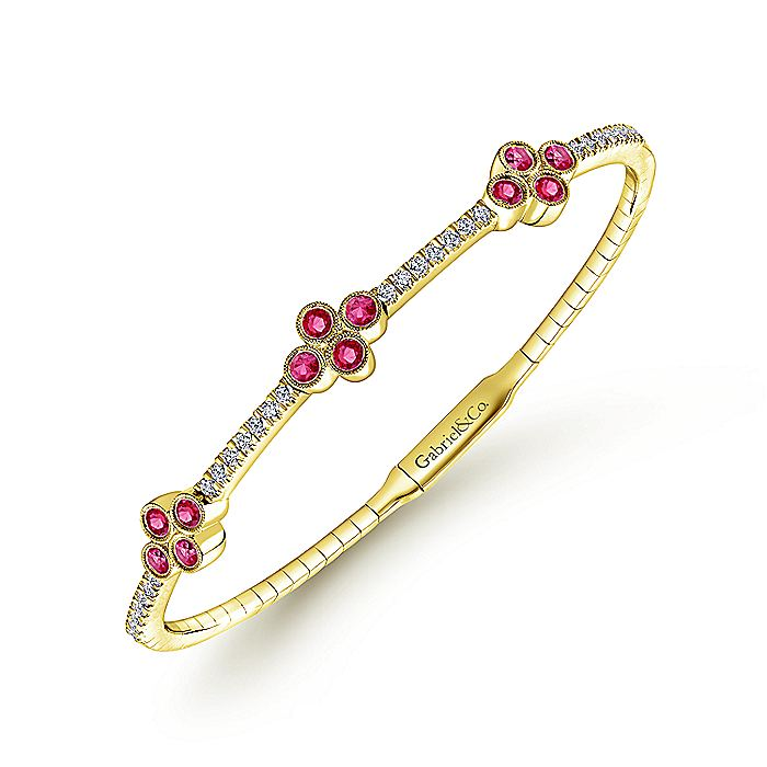14K Yellow Gold Bangle with Diamond and Ruby Quatrefoil Stations