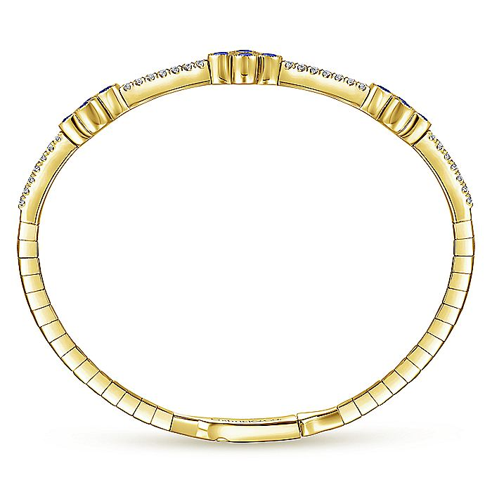 14K Yellow Gold Bangle with Diamond and Sapphire Quatrefoil Stations