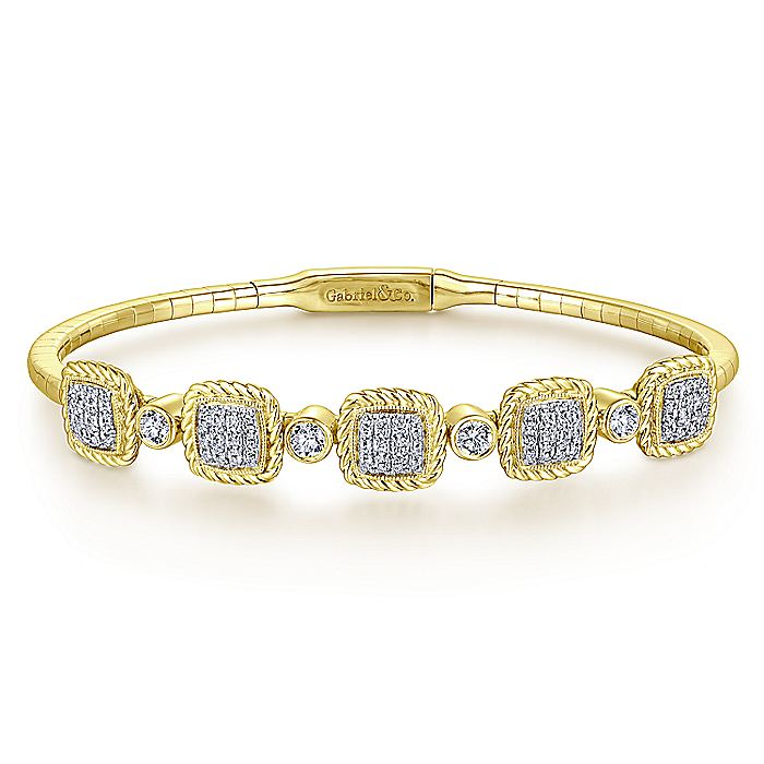 14K Yellow Gold Bangle with Twisted Rope Pavé Diamond Stations