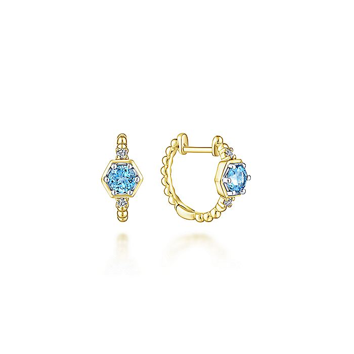 14K Yellow Gold Beaded 10MM Blue Topaz and Diamond Huggie Earrings