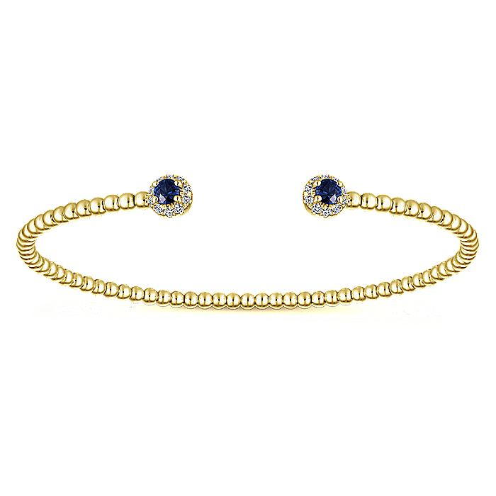 14K Yellow Gold Beaded Bangle with Diamond and Sapphire Accents