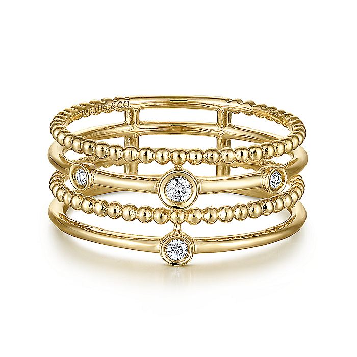 14K Yellow Gold Beaded Bezel Set Diamond Layered Ring