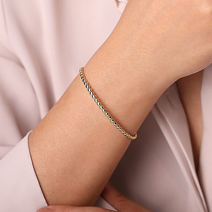 14K Yellow Gold Beaded Cuff Bracelet