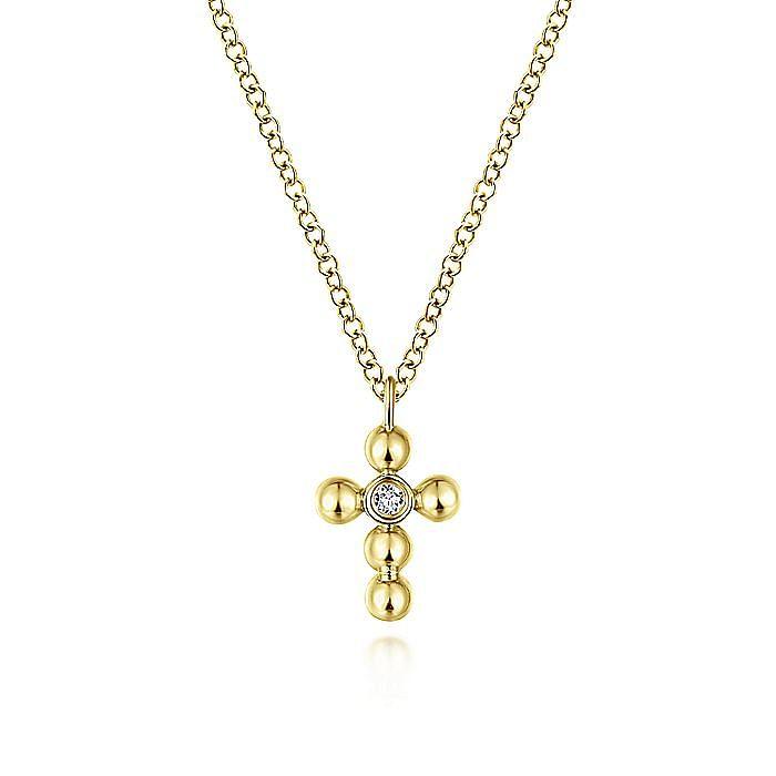 14K Yellow Gold Beaded Diamond Cross Necklace