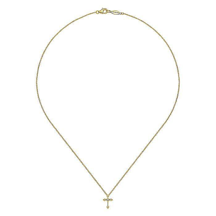 14K Yellow Gold Beaded Diamond Cross Pendant Necklace