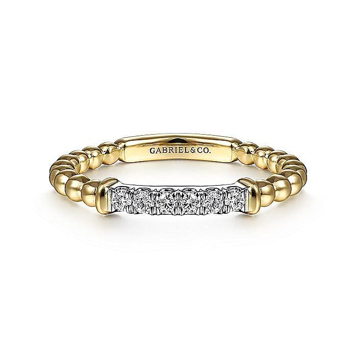 14K Yellow Gold Beaded Diamond Ladies Ring