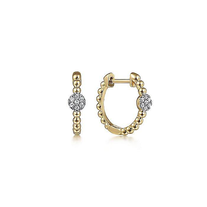 14K Yellow Gold Beaded Diamond Pave 15mm Huggie Earrings