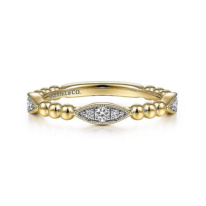 14K Yellow Gold Beaded Marquis Cluster Diamond Bujukan Ring