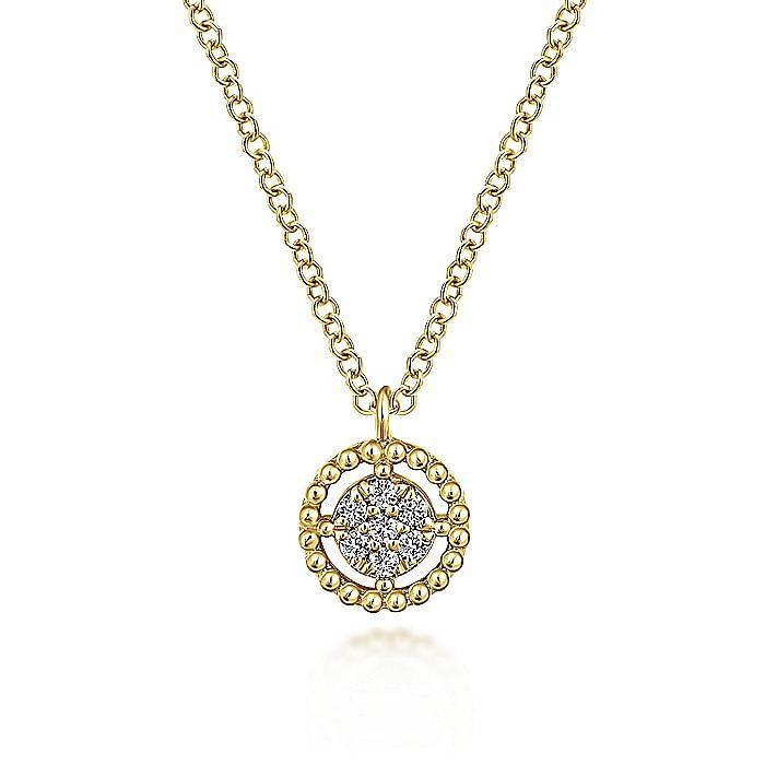 14K Yellow Gold Beaded Round Floating Diamond Pendant Necklace