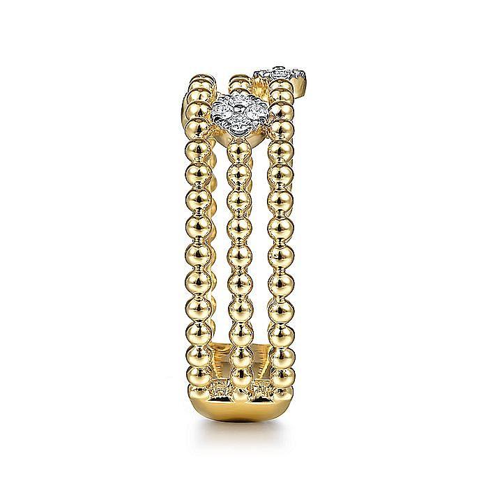 14K Yellow Gold Beaded Three Layer Diamond Station Ring