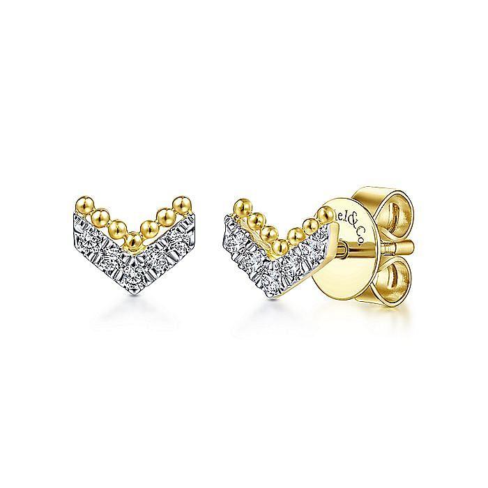 14K Yellow Gold Beaded and Diamond V Stud Earrings