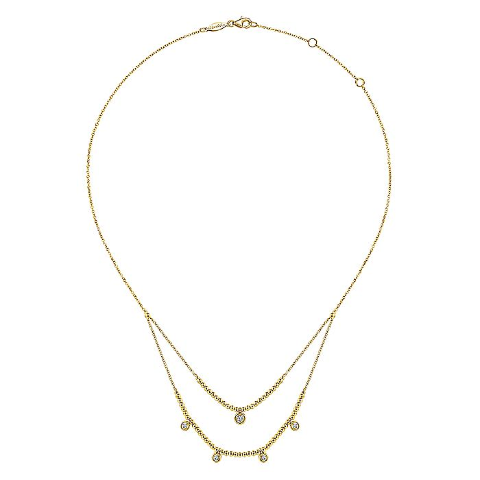 14K Yellow Gold Beads and Diamond Two-Layer Ladies' Necklace