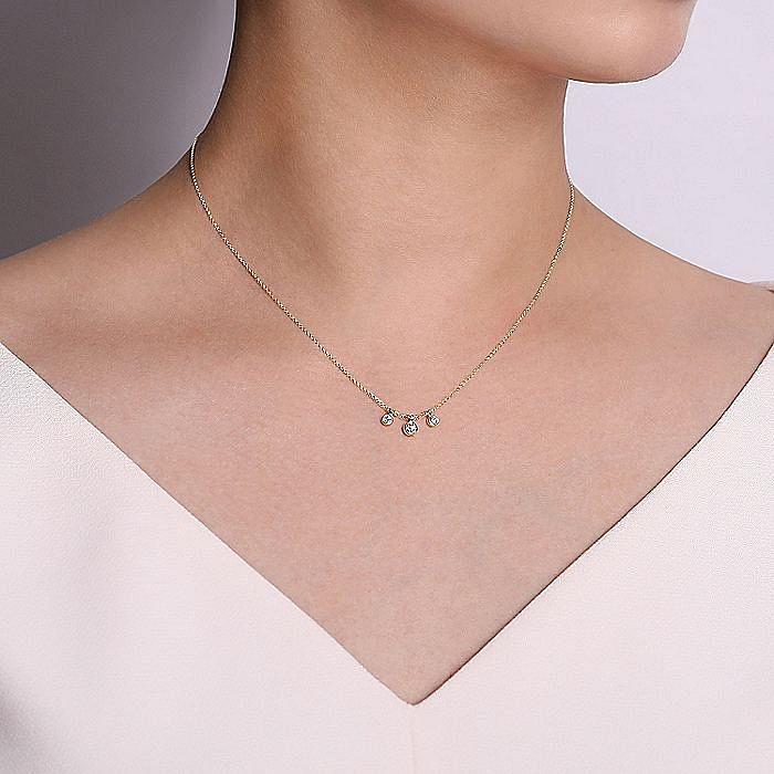 14K Yellow Gold Bezel Set Diamond Drop Necklace