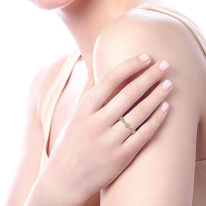 14K Yellow Gold Bezel Set Diamond Quatrefoil Eternity Ring