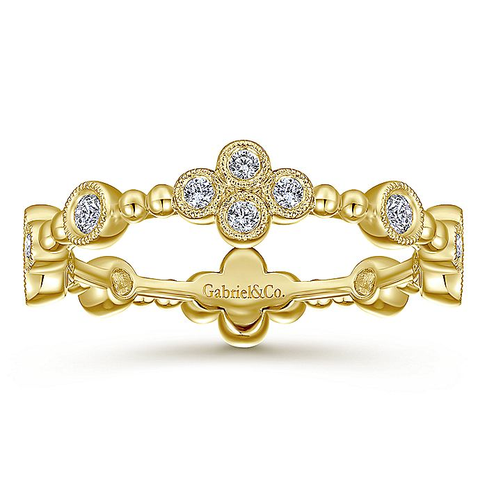 14K Yellow Gold Bezel Set Diamond Quatrefoil Eternity Ring