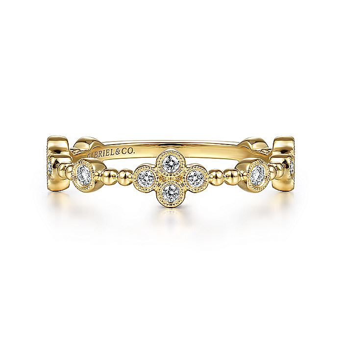 14K Yellow Gold Bezel Set Diamond Quatrefoil Station Ring