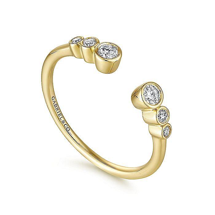 14K Yellow Gold Bezel Set Diamond Split Stackable Ring