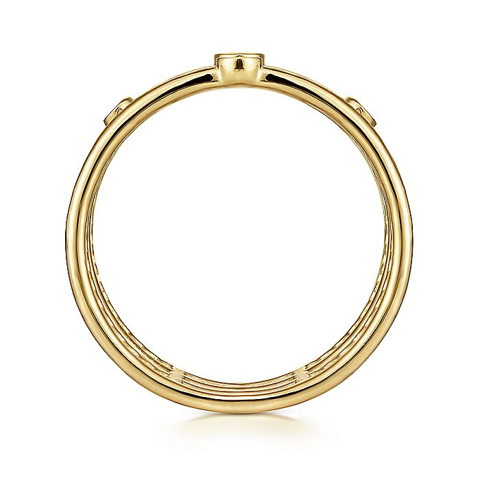 14K Yellow Gold Bezel Set Diamond Station Layered Ring