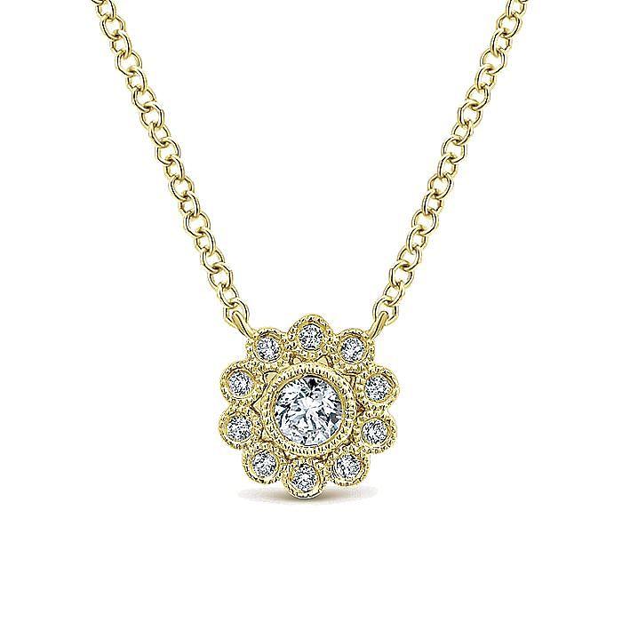 14K Yellow Gold Bezel Set Floral Diamond Pendant Necklace