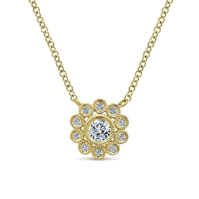 14K Yellow Gold Bezel Set Floral Diamond Pendant Necklace