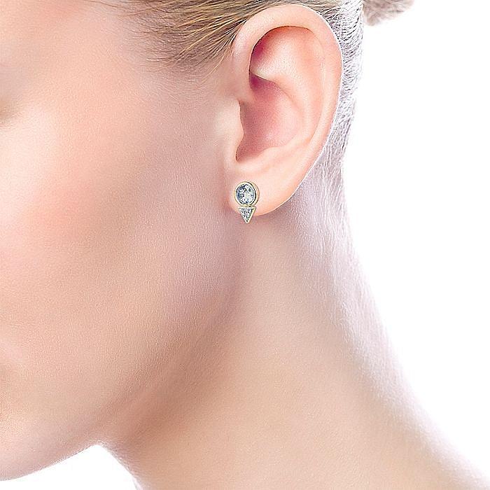 14K Yellow Gold Bezel Set Light Blue Topaz and Diamond Cluster Stud Earrings