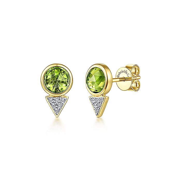14K Yellow Gold Bezel Set Peridot and Diamond Cluster Geometric Stud Earrings