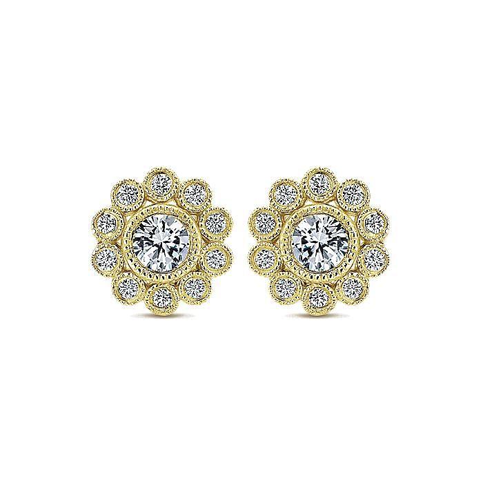 14K Yellow Gold Bezel Set Round Diamond Flower Stud Earrings