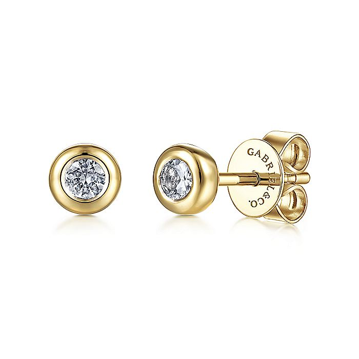 14K Yellow Gold Bezel Set White Sapphire  Stud Earrings