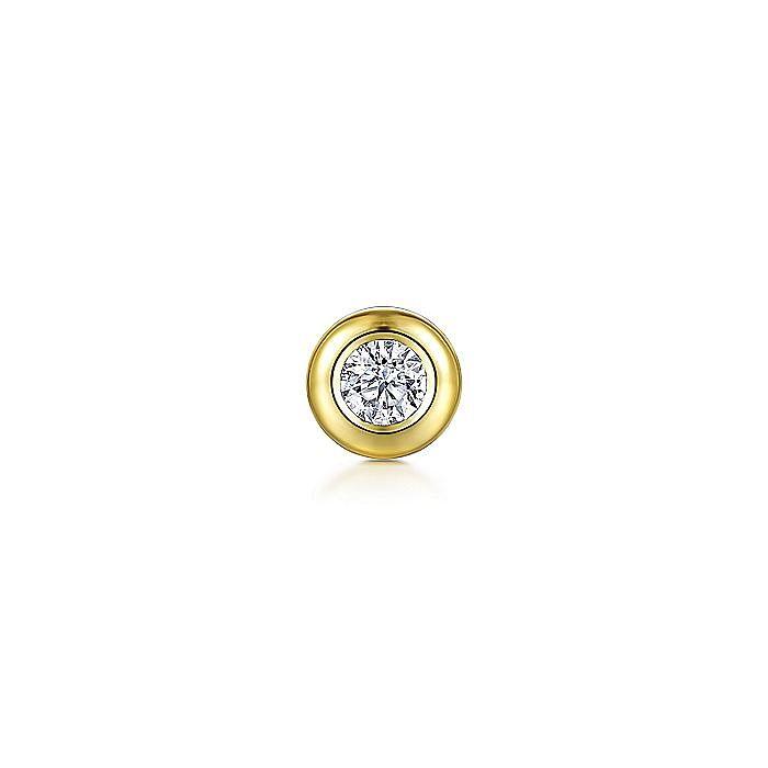 14K Yellow Gold Bezel Set White Sapphire Single Stud Earring