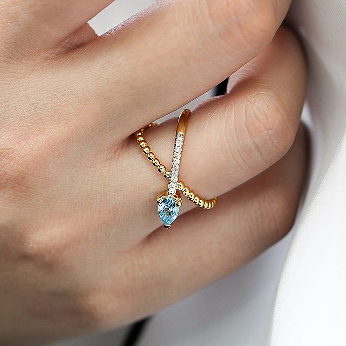 14K Yellow Gold Blue Topaz and Diamond Ladies Ring
