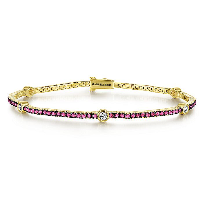 14K Yellow Gold Bracelet with Rubies and Diamonds